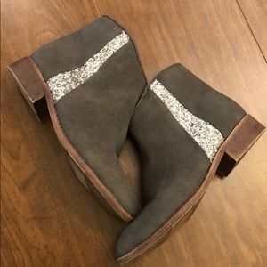 Kidpik Leather Micro Suede Glitter Zip Ankle Boot